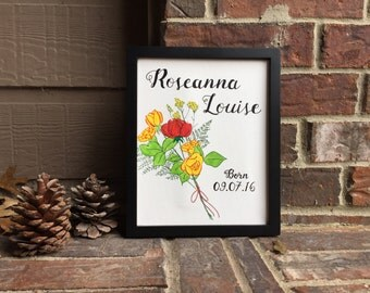 "8""x10"" Custom Floral Bouquet Personalized Canvas with Child's Name and Birthdate"