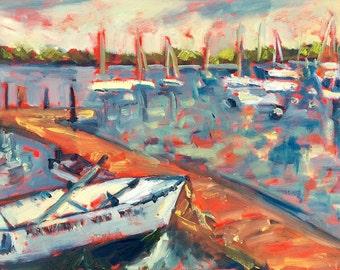 Boat Dock - Painting, Original Oil, Minneapolis, Minnesota, Sailboats, Rowboat, Boats, Reflections, Lake, Dock