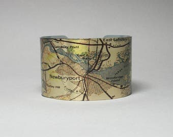 Cuff Bracelet Newburyport Massachusetts Map Unique Hometown Travel Gift for Men or Women