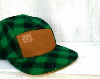 Green and Black Buffalo Check, Handmade Plaid Wool 5 Panel Camp Hat, Winter Hat