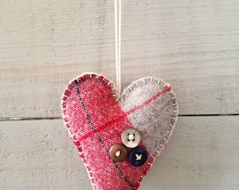 Plaid Heart Ornament- Valentines Day Decor