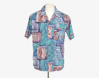Vintage 60s HAWAIIAN Mens SHIRT / 1960s Rockabilly Aloha Loop Collar Shirt Fish Boats M - L
