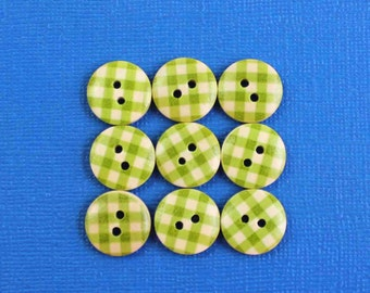 20 Gingham Buttons Painted Wood Green Checkered Plaid 15mm BUT373