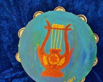 """David's Harp 10"""" inch hand painted Tambourine"""