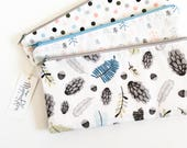 Woodland Women Zipper Pouch, Pencil Pouch, Pencil Case, Cosmetics Bag, Pinecones, Acorns, Trees, Leaves, School Supplies, Gift For Her