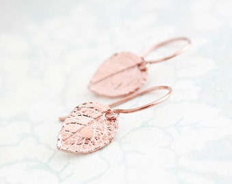 Tiny Rose Gold Leaf Earrings Small Drops Pink Gold Leaves Rustic Natural Rose Leaf 24K Gold Vermeil Gold Filled Woodland Gift for women