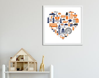 London Art Print , Union Jack British Artwork , Orange Navy England Art Poster , Large Wall Art , British Nursery Art , British Decor Wall