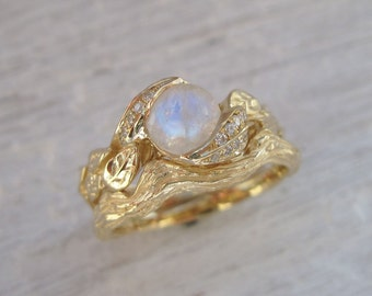 Moonstone Leaves Ring Bridel Set, Leaf Engagement Ring Wedding Set, 18k Leaves Wedding Set, Engagement Ring Set, Yellow Gold Twig Leaf Ring