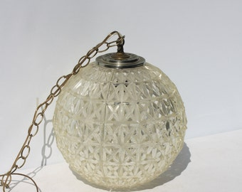 Vintage Plastic Acrylic Globe Hanging Swag Pendant Chandelier Clear Plastic Crystal Style Diamond Pattern Light Fixture