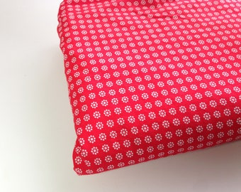 Vintage Red Fabric, 1 Yd Mystery Fabric, Sewing Supplies, Woven Material, Red and White Print Fabric