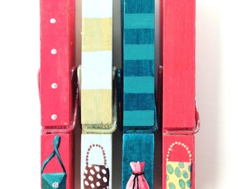 TINY PURSES hand painted magnetic clothespin set watermelon teal