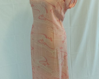1970s Pink Cherry Blossom China Doll Dress