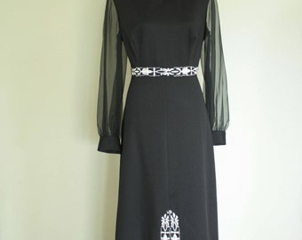 Vintage Cocktail Maxi Dress,  Mrs. Robinson Black and White full length 1960s 70s Mod Frock,