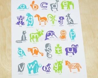 Animal Alphabet Poster - A to Z