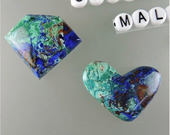 Blue Bird Azurite Cabochons, Chrysocolla  Malachite Cabs, Blue Bird Azurite, Jewelry Supplies, Craft Supplies, Gift Cab,#C1919, 49erMinerals