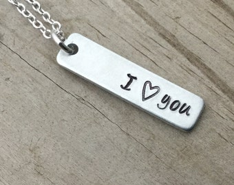 "SALE- Word Necklace-brushed silver rectangle with ""I (heart) you"" - only 1 available"