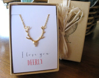 Deer Antler Necklace, I love you Deerly, Hunters Necklace, Valentines Gift, Anniversary Gift, Mothers Day Necklace