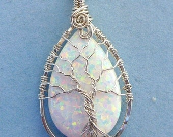 Opal Pendant Necklace,Simulated Opal Tree of Life Necklace in .925 Sterling Silver,Synthetic White Tree of Life Pendant,Mothers Day Gift