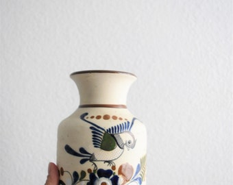 vintage hand painted mexican pottery / vessel / vase / water jug / bird