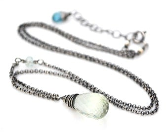 Green Amethyst Necklace, Luxe AAA Green Amethyst Pendant Necklace, Oxidized Silver Moss Aquamarine & Green Amethyst Gemstone Necklace