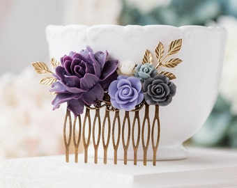 Purple Wedding Hair Comb Purple Grey Ivory Floral Bridal Hair Comb Gold Leaf Branch Bridal Hair Piece Bridesmaid Gift