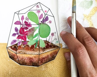 Air Plant Terrarium. Botanical Print. Watercolor Planter. Gold Foil Print. Succulent Terrarium. Gifts for her. Little Luxury. Gold Art Print