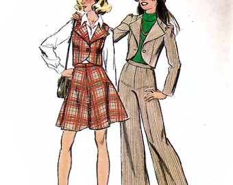 Simplicity 6511 Vintage 70s Sewing Pattern for Junior or Teen Unlined Jacket or Vest, Pants and Short Skirt - Uncut - Size 11/12 - Bust 32