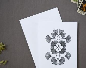 Pack of 6 Letterpress Ginkgo Notecards