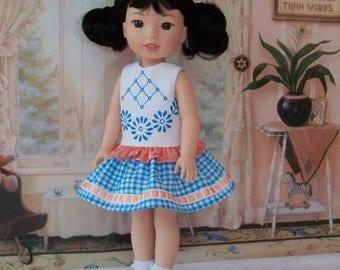 "Embroidered  Dress and Shoes for American Girl Doll 14"" Wellie Wishers®"