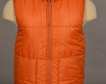 Vintage Jones of California Orange Puffer Vest Union Made in USA