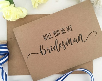 Will You Be My Bridesman Card - Bridesman Gift - Bridesman Card - Bridesman Proposal Card - Wedding Party Cards - Proposal Cards - Rustic