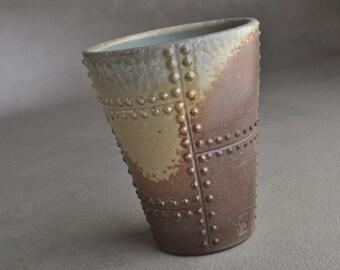 Sheet Metal Tumbler Ready To Ship Blue Gray Porcelain Wood Fired Tumbler by Symmetrical Pottery