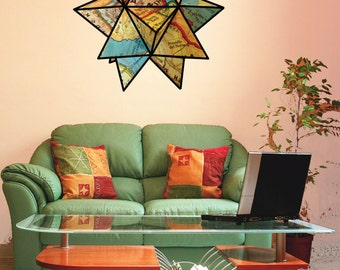 Map origami star wall decal- united states map- reusable fabric wall decal