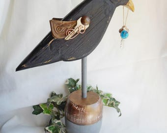 Handcrafted Wooden Folk Art Steampunk CROW Raven with Key - FREE SHIPPING