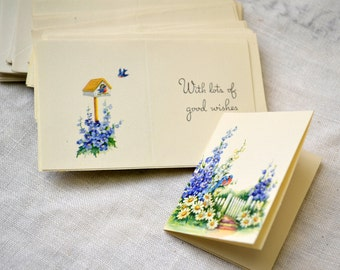 1950s NOS Birds and Flowers Gift Cards, Set of 25