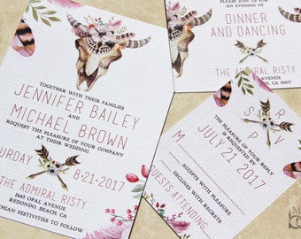 Floral Cow Skull wedding invitations.