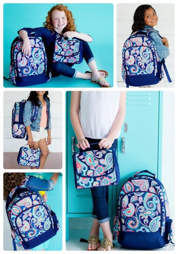 Navy Paisley Monogrammed Backpack and Lunchbox