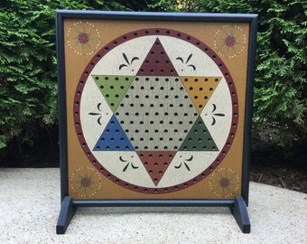 """19"""", Chinese Checkers, Game Board, Folk Art, Wood, Game Boards, Primitive, Game Boards"""