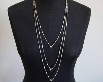 William de Lillo Triple Strand Long Crystal Rhinestone Necklace