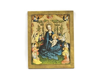 Religious Decoupage Art - Madonna and Child, Christian Art, Religious Painting, Gold Gilt, Vintage Decoupage Art, Religious Decor, c.1980s