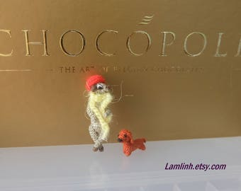 meerkat lady and little dachshund - microdollhouse decor - tiny amirugumi meerkat - micro dachshund