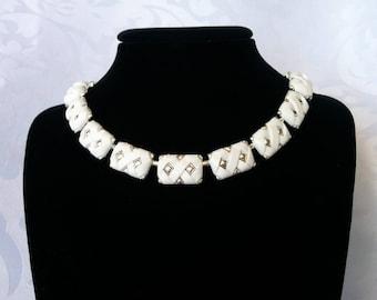 White and Silver Coro Necklace, Coro Necklace, White and Silver Tone Necklace