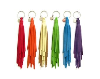 Large Twister Tassel Key Chain | Leather Tassel Keychain | Fringe Tassle | Purse Handbag Charm | Colorful | Bridesmaid Grad Gift | Upcycled