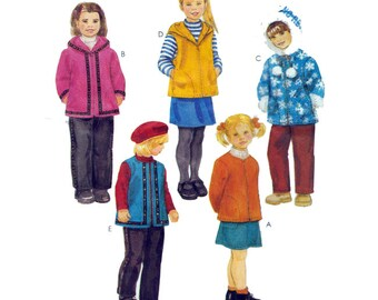 """Toddler & Child Zippered Hooded Jacket or Vest with Skirt and Pants UNCUT Sewing Pattern Child's Size 3 4 5 Breast 22-24"""" McCall's 2973 S"""