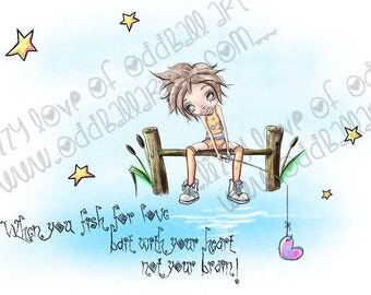 INSTANT DOWNLOAD Big Eyes On The Dock Digital Stamp - Charlie's Gone Fishing Image No.361 by Lizzy Love