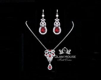 Ruby Red Jewelry Set, Ruby earrings,ruby necklace,red wedding,red jewelry,red earrings,red necklace,prom jewelry,July birthstone