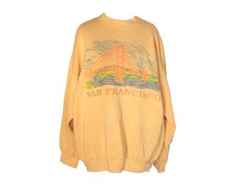 Vintage 80's San Francisco Sweatshirt Yellow Size XL
