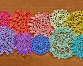 10 Rainbow Hand Dyed Crochet Doilies, 2 through 4 inch Craft Doilies, Small Size Crochet Doilies in Rainbow Colors