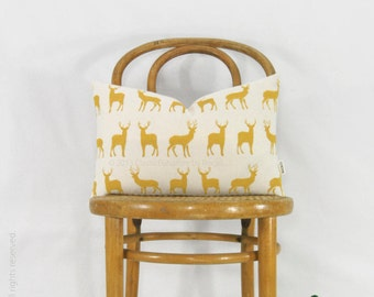 Mustard deer lumbar pillow cover, Decorative throw pillow case | Modern and rustic woodland decor | Yellow and beige ecru 12x18 stag cushion
