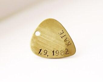 Guitar Pick Pendant, Unisex Guitar Pick Gold Necklace, Custom Guitar Pick Pendant, Monogram Pick Necklace, Gold Men Guitar Pick Necklace